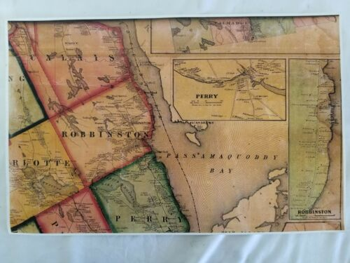 Antique 1861 Map Reprint Calais, Robbinston, Perry, Charlotte, Passamaquoddy Me