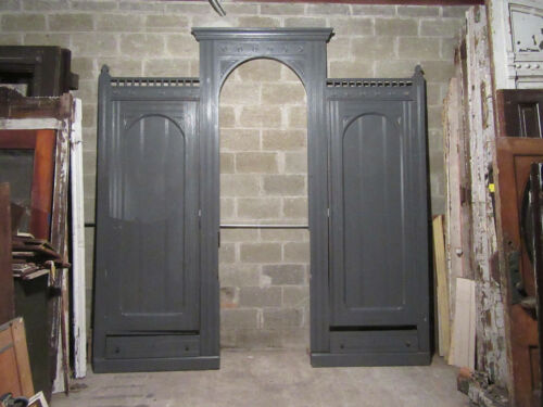 ~ ANTIQUE CARVED WALNUT CLOSET FRONT WITH PASS THROUGH ~ 112 X 114 ~ SALVAGE