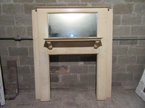 ~ ANTIQUE OAK FIREPLACE MANTEL WITH MIRROR ~ 60 X 70 ~ 36 OPENING ~ SALVAGE