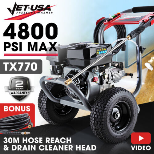 Jet-USA 4800PSI High Pressure Cleaner Washer - Ultimate Edition - Petrol Water <br/> Serious Quality plus 30M Hose Reach and Drain Cleaner