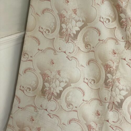 Antique French Art Nouveau printed cotton fabric red floral curtain arts crafts