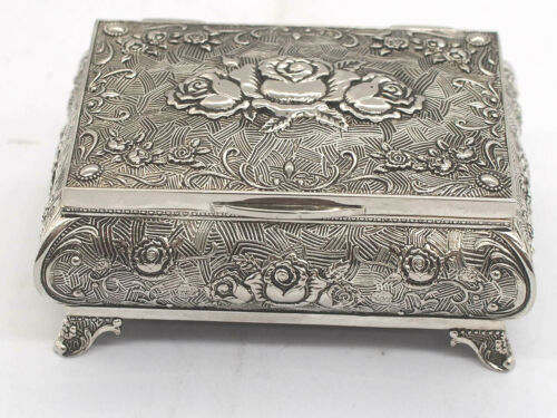 Sterling Silver Jewellery Box Roses Design c.1900