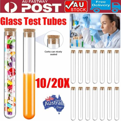 10/20x Glass Test Tubes With Cork Stopper Candy Party Wedding Party Favors D7