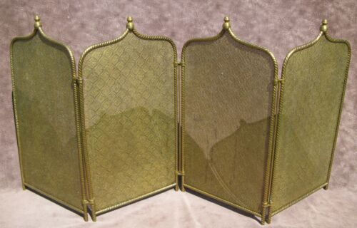 """Vintage Antique Victorian Brass Mesh 4 Fold Fire place Screen 11""""H 45 1/2""""W"""