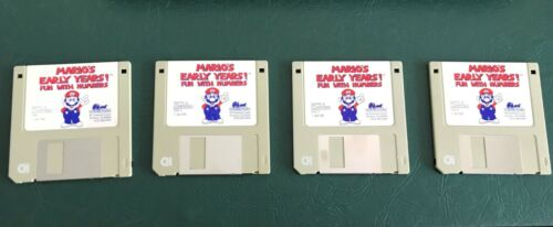 Mario's Early Years!TM Fun With Numbers 1993 set of 4 Floppy Disks