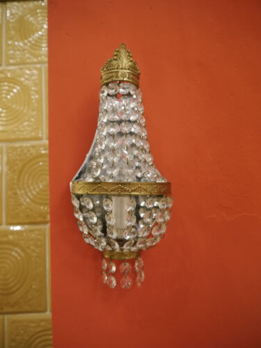 SMALL BASKET STRASS CRYSTAL BRASS WALL LAMPS SCONCES OLD LIGHTS