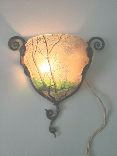 French Cameo Glass Wall Sconce with Wrought Iron Frame Signed Daum Nancy