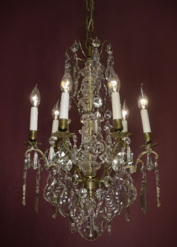 AMAZING ANTIQUE 6 LIGHT FRENCH CHANDELIER BEAUTIFUL CRYSTAL SHAPE CEILING LAMP