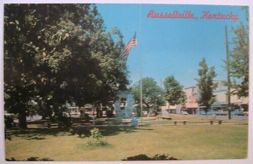 Russellville Kentucky Confederate Soldiers Monument on Town Square ca 1960