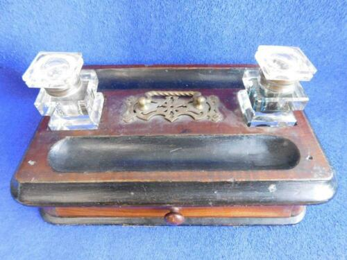 Victorian era Inkstand with Inkwells 1880s Box Carry handle and drawer
