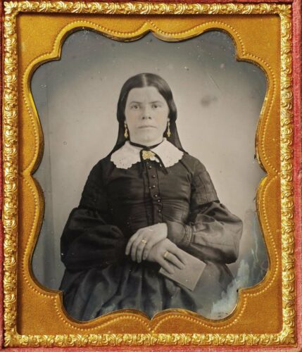 F33114~ Holding ¼ Daguerreotype Case & Mourning Her Loss,  1861-1866  Ambrotype