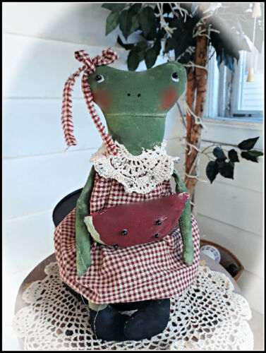 "***Primitive` Handmade *Freida the Frog Doll with Her Watermelon ""Doily Collar*"