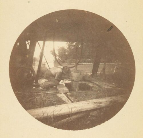 F33118~ Ohio Oil Well Drilling Occupational 1890 Round Kodak Photo -New Castle <br/> Image By Peter Neff – Early Tintype Plate Manufacturer