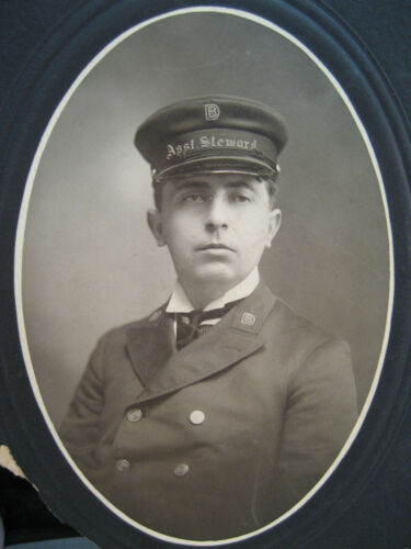 Vintage 1920's Photo Man with Uniform and Hat Asst Steward Boat or Train Detroit