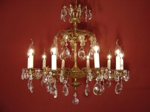 """CLASSIC BRASS CRYSTAL CHANDELIER 2 CROWNS  Ø 28"""" VINTAGE LAMP CLASSIC 10 LIGHT"""