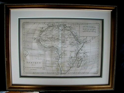 HISTORICAL CIRCA 1780 COPPER ENGRAVED MAP OF AFRICA / AFRIQUE BY BONNE RIGOBERT