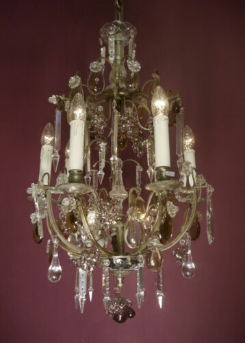 AMAZING ANTIQUE 9 LIGHT ITALY CRYSTAL FRUIT CHANDELIER SILVER NICKEL LAMP