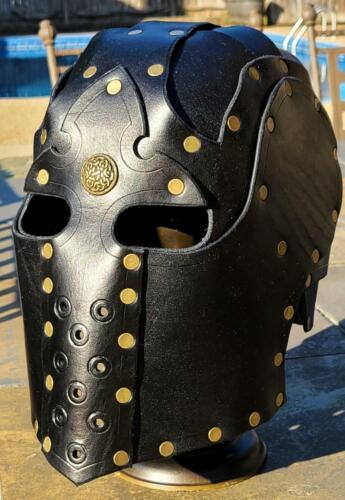 *RTS* Black Leather Helmet Fantasy Mask Armor LARP Helm Medieval Knight CosplayReenactment & Reproductions - 156374