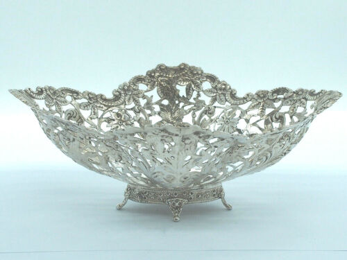 Sterling Silver Victorian Bread Basket - Floral and Leaves Pierced  -1880's