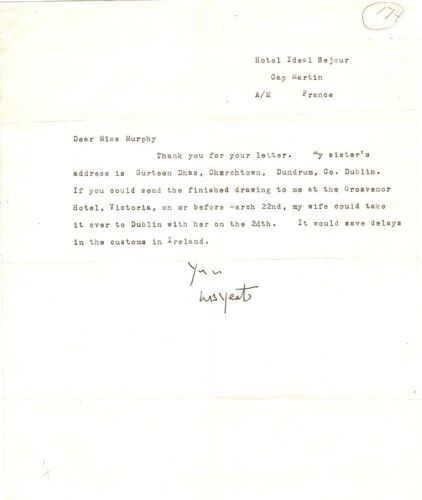 William Butler Yeats, Irish Poet, typed letter signed in ink, regarding drawing