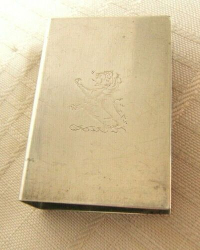 STERLING SILVER MATCH BOX COVER WITH LION CREST