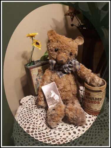 ***Primitive`Handmade Grandpa's Old Aged Teddy Bear`*with Old Fashion Tag