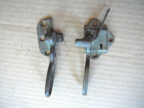 TWO ANTIQUE SALVAGED BRASS LATCHES from OLD WOOD OAK ICEBOXES - # 2