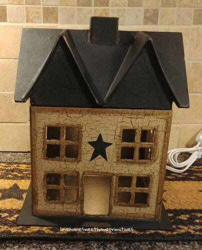 Primitive Crackle Tan & Black Star Lighted Medium House Country Decor