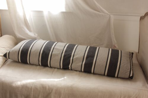 Antique Ticking French bolster pillow cover striped blue indigo feather down