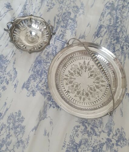Antique James Dixon & Sons Silver Swing Basket & Small Basket of Unknown Origin
