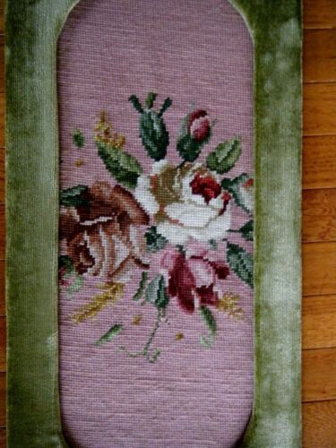 Old Berlin wool work bouquet roses needlepoint  H embroidery wall panel tapestry