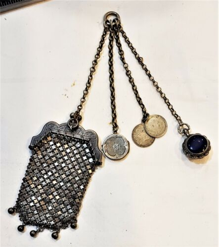 Antique Victorian Silver Chatelaine 4 Chains with Purse Coins Locket Snuff Box
