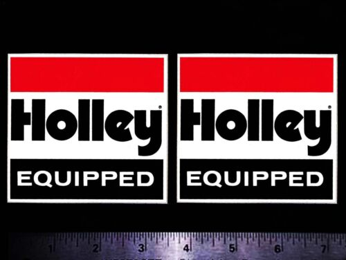 HOLLEY Equipped - Set of 2 Original Vintage Racing Decals/Stickers - 3.50 inch