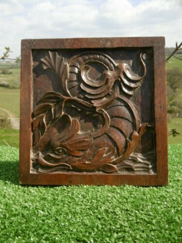 ANTIQUE 19thc GOTHIC OAK CARVED PANEL WITH GARGOYLE IN RELIEF