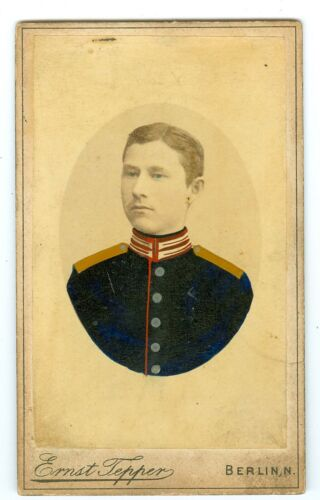 B7032~ Military Cadet? Hand Tinted 1870's? CDV by Ernst Tepper Berlin Germany