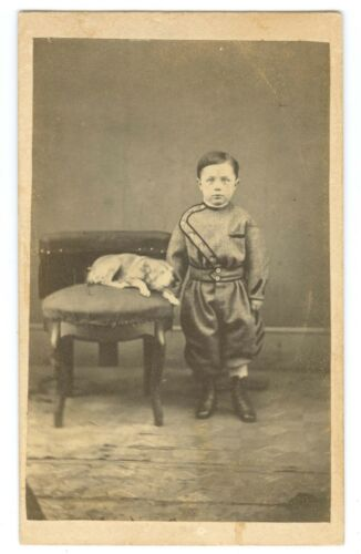 B7206~ Civil War Era Young Lad & Dog CDV – 1860s Zouave-Style Wool Outfit