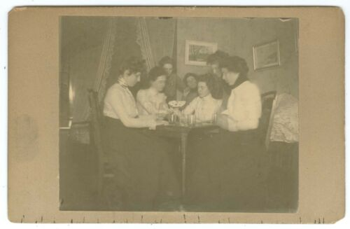 B7468~ Playing Cards- Seven College? Girls & Drinks 1890's Cabinet Card
