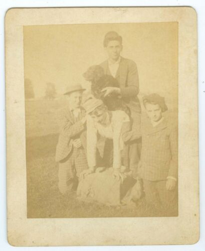 B7469~ Dog On Back Of Young Boy & Friends 1890's Cabinet Card