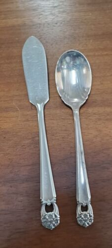 INTERNATIONAL Silverplate Eternally Yours set butter spreader and sugar spoon