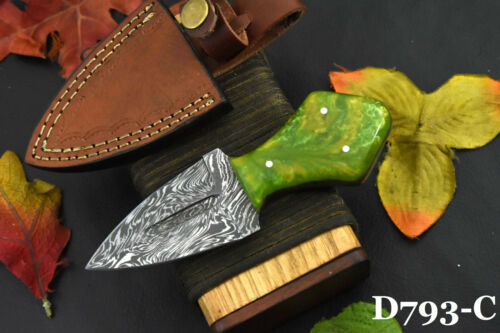 Damascus Steel Skinning Dagger Hunting Knife Handmade With Resin Handle (D793-C)