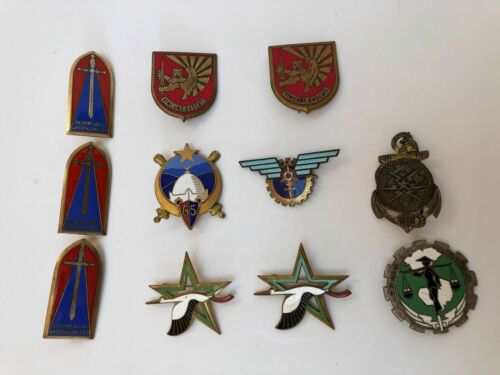 11 INSIGNES TRAIN INDOCHINE FTEO PUCELLE ST CYR CTC CORPS TELEGRAPHISTE  Z293