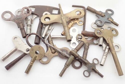 LOT OF 20 ANTIQUE MANTEL SHELF WALL CLOCK WINDING KEYS