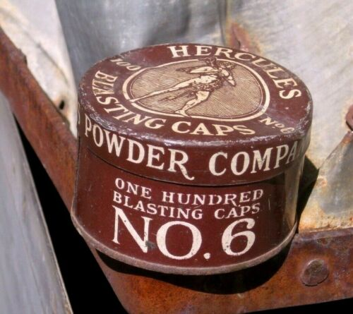 Vintage Brown MINE MINING MINERS HERCULES BLASTING CAPS TIN CAN 100 SIZE #6