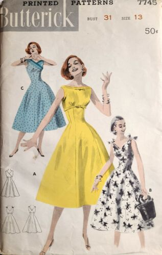 "B7745 Butterick 7745 VTG 1950s Sewing Pattern Empire Dress Princess B31"" Size 13"