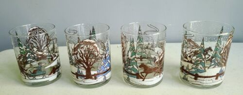 4 Rare Vintage Culver *-* Sleigh Ride *-* Double Old Fashioned Glasses Enameled