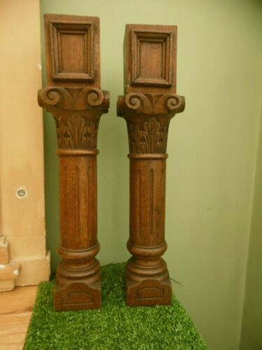 ANTIQUE PAIR OF 19thc ARCHITECTURAL OAK CARVED GOTHIC PILASTERS/COLUMNS