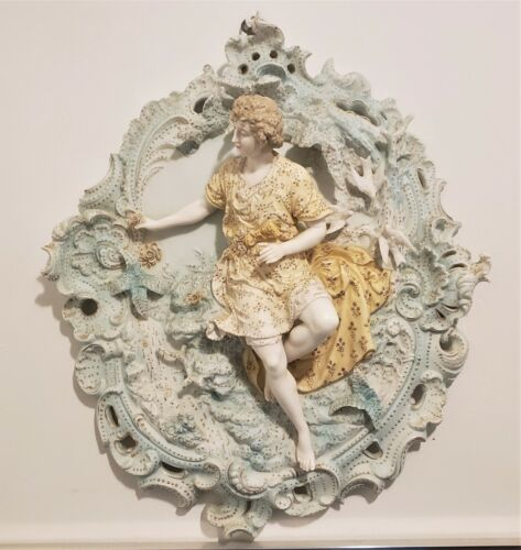 Antique German Bisque High-Relief Figural Wall Plaque 19th Century