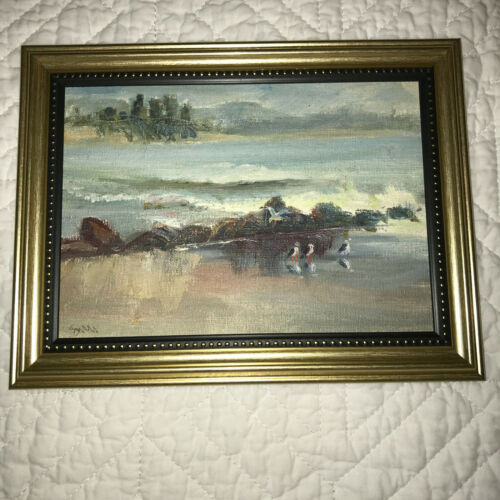 Vintage seascape coast hand painted original oil PAINTING beach small signed