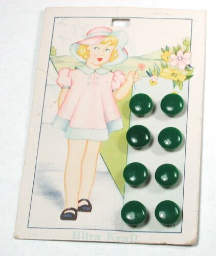 """Vintage Glass Button Set of 8 DIMI on Original Graphic Card of Little Girl 5/16"""""""