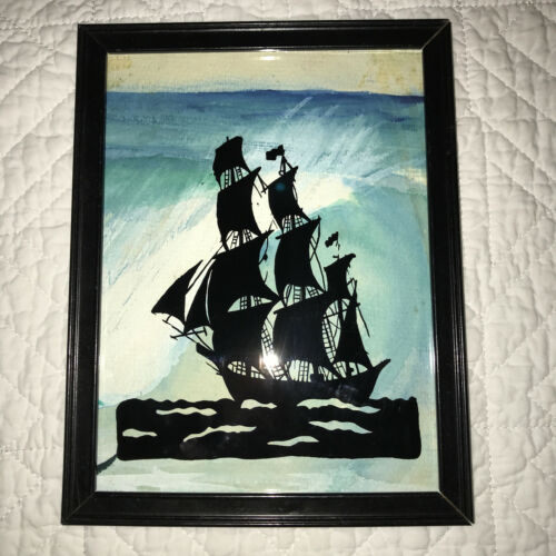 SEASCAPE SHIP boat silhouette hand painted watercolor back pirate full sail